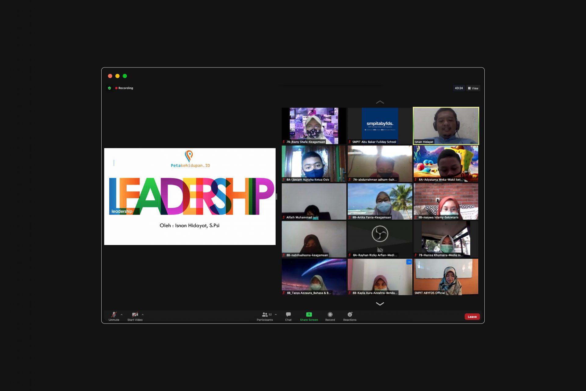 Latihan Dasar Kepemimpinan (LDK) OSIS Periode 2020 Digelar Secara Virtual SMPIT ABYFDS